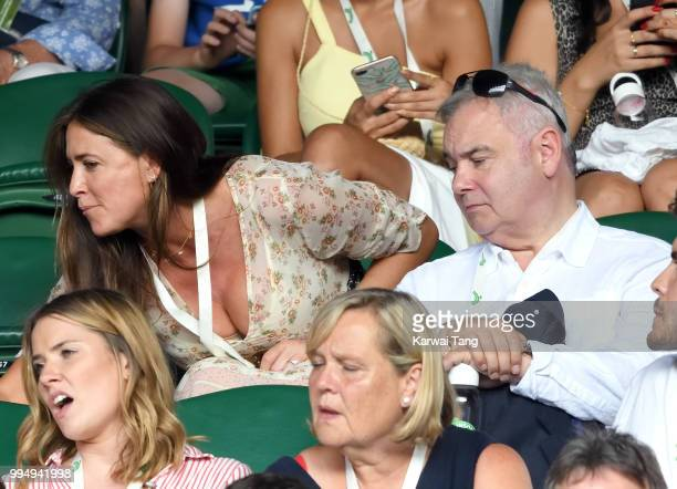 Lisa Snowdon and Eamonn Holmes attend day seven of the Wimbledon Tennis Championships at the All England Lawn Tennis and Croquet Club on July 9 2018...