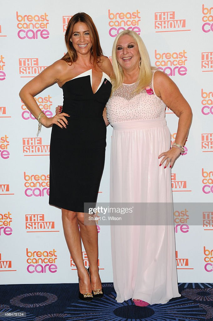 Lisa Snowdon and Vanessa Feltz arrive for the Breast Cancer Care's London Fashion Show 2014 at The Grosvenor House Hotel on October 1, 2014 in London, England.