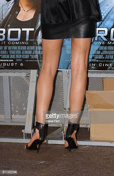 Lisa Snowdon arrives at the UK Premiere of 'I Robot' at Odeon Leicester Square on August 4 2004 in London