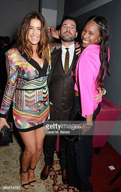 Lisa Snowdon Dave Berry and Aicha McKenzie attend the Universal Music Brits party hosted by Bacardi at The Soho House PopUp on February 25 2015 in...