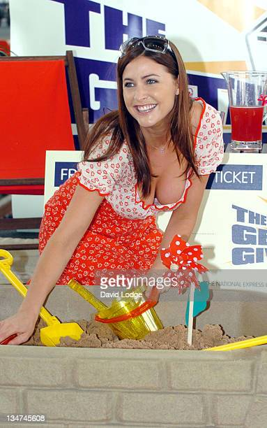 Lisa Snowdon during Lisa Snowdon Photocall to Announce The Getaway Giveaway Railway Promotion at St Pancras Station in London Great Britain