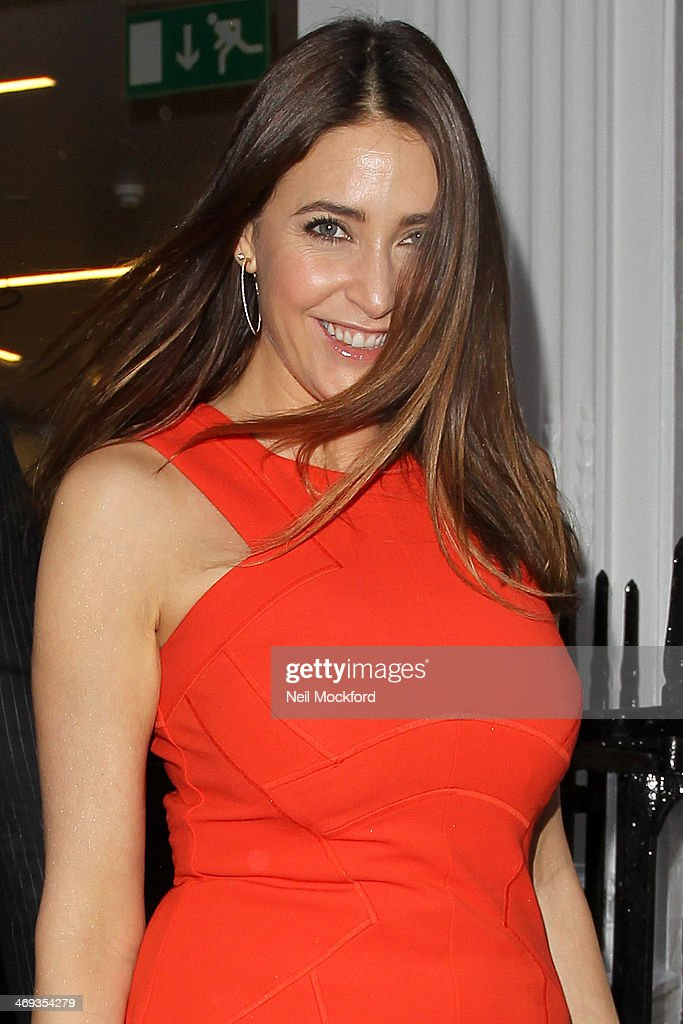 Lisa Snowdon is pictured outside of the Amanda Wakeley Presentation during London Fashion Week on February 14, 2014 in London, England.