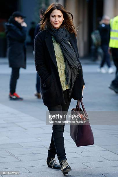 Lisa Snowdon seen leaving the Global Radio Studios Leicester Square after hosting the Capital Breakfast show on January 13 2015 in London England...