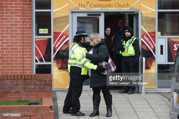 Lisa Squire the mother of missing student Libby Squire hugs a police officer on leaving a service at Hull Community Church The 21yearold student has...