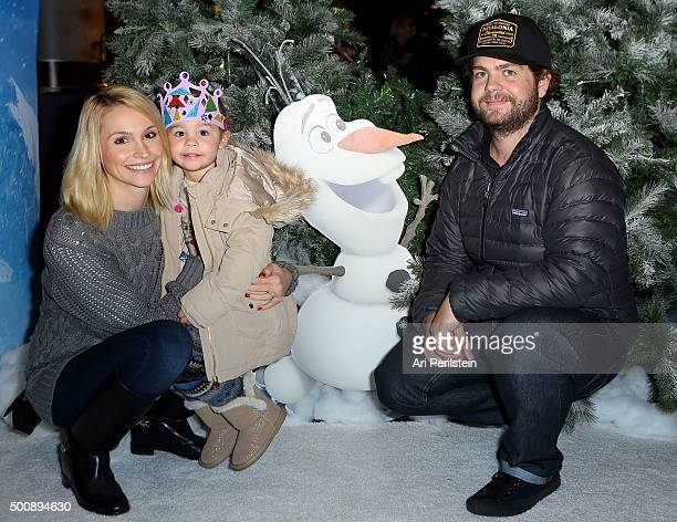 Lisa Stelly Pearl Osbourne and Jack Osbourne attend Disney On Ice Presents Frozen Los Angeles Premiere at Staples Center on December 10 2015 in Los...