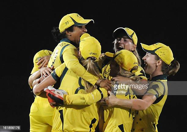Lisa Sthalekar of Australia celebrates with teammates as the Australian team wins the Womens World Cup between Australia and West Indies held at the...
