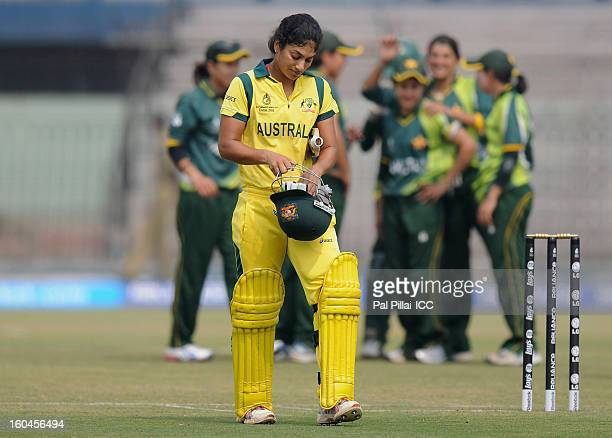 Lisa Sthalekar of Australia walks back after getting out during the second match of ICC Womens World Cup between Australia and Pakistan played at the...