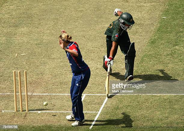 Lisa Sthalekar of the Southern Stars makes her ground as the stumps are broken from the return during the Women's One Day International match between...
