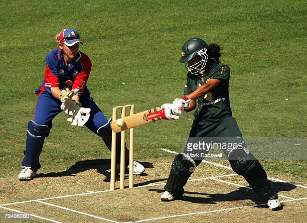 Lisa Sthalekar of the Southern Stars square cuts during the Women's One Day International match between the Australian Southern Stars and England at...