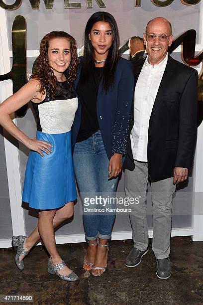 Lisa Sugar Hannah Bronfman and David Grant attend the POPSUGAR Digital Newfront 2015 at Cedar Lake on April 30 2015 in New York City