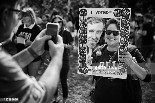Lisa Sumruld of Round Rock poses for a photograph during a rally for US Senate candidate Rep Beto O'Rourke at the Pan American Neighborhood Park...