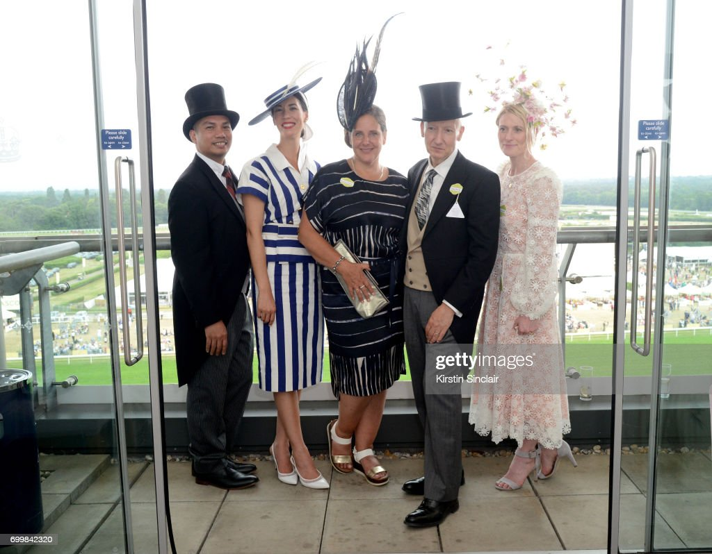 Lisa Tan (2ndL), milliner Stephen Jones (2ndR) and guests attend day 3 of Royal Ascot at Ascot Racecourse on June 22, 2017 in Ascot, England.