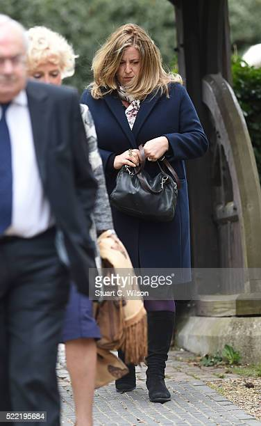 Lisa Tarbuck arrives for the funeral of entertainer Ronnie Corbett April 18 2016 in Shirley England Ronnie Corbett best known for BBC comedy sketch...
