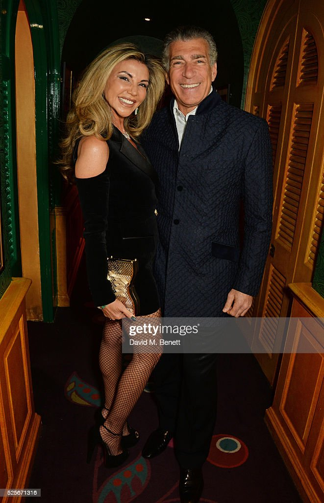 Lisa Tchenguiz (L) and Steve Varsano attend a private dinner hosted by Fawaz Gruosi, founder of de Grisogono, at Annabels on April 28, 2016 in London, England.