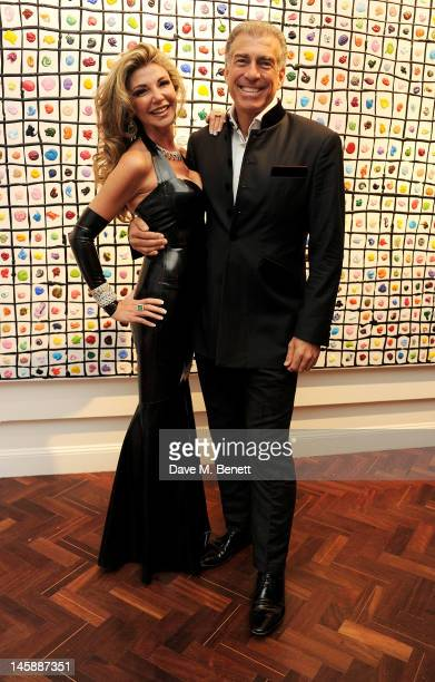 Lisa Tchenguiz and Steve Varsano attend a private viewing of 'Colour: An Exhibition By Stasha', featuring works by Stasha Palos, at The Gallery In...