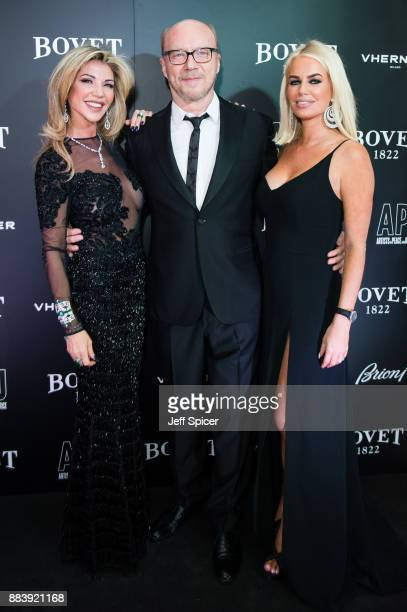 Lisa Tchenguiz Paul Haggis and Caroline Stanbury attend the 'Brilliant Is Beautiful' gala held at Claridge's Hotel on December 1 2017 in London...