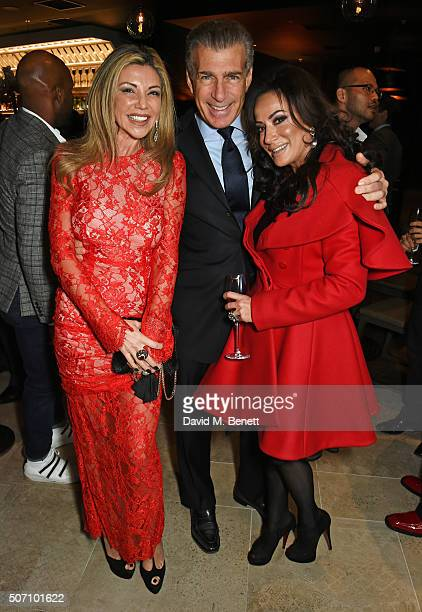 Lisa Tchenguiz Steve Varsano and Nancy Dell'Olio attend the launch of M Victoria Street in aid of Terrence Higgins Trust on January 27 2016 in London...