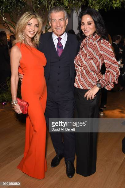 Lisa Tchenguiz Steve Varsano and Rena Sindi attend photography exhibition book launch 'Africa Serena 30 Years Later' on January 24 2018 in London...