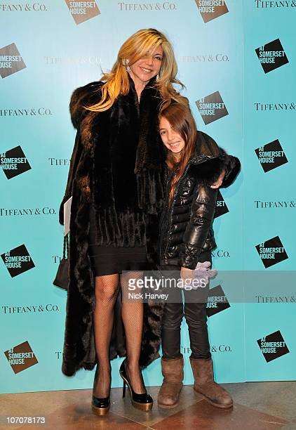 Lisa Tchenguiz with her daughter Ariella attend 'Skate' presented by Tiffany and Co at Somerset House on November 22 2010 in London England