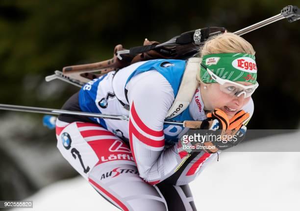 Lisa Theresa Hauser of Austria competes during the 7.5 km IBU World Cup Biathlon Oberhof women's Sprint on January 4, 2018 in Oberhof, Germany.