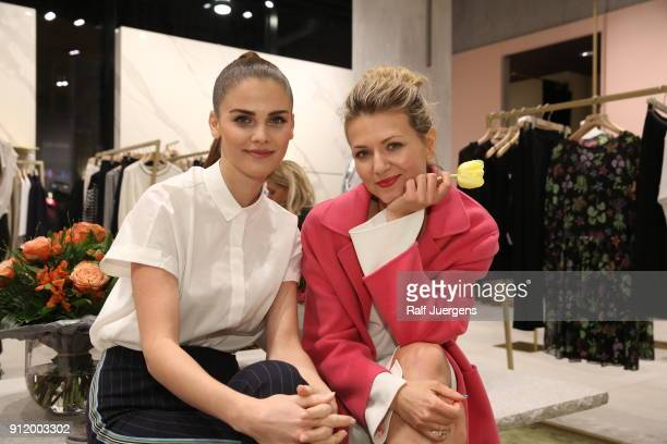 Lisa Tomaschewsky and Ella Endlich attend the opening of Luisa Cerano Flagship Store on January 27 2018 in Duesseldorf Germany