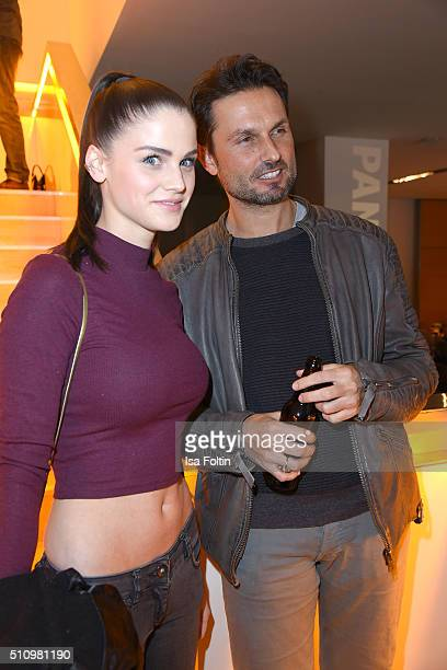 Lisa Tomaschewsky and Simon Verhoeven attend the PantaFlix Party on February 17, 2016 in Berlin, Germany.