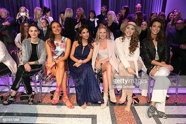 Lisa Tomaschewsky Janina Uhse Sila Sahin Janina Uhse Victoria Swarovski and Marvy Rieder sit front row during the Marc Cain fashion show fall/winter...