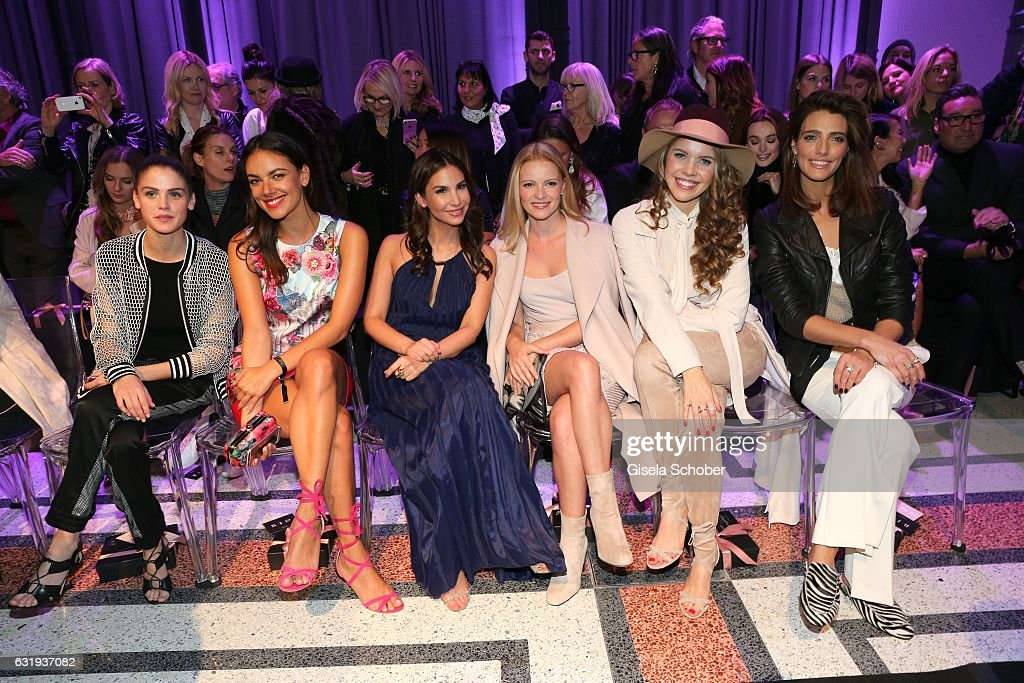 Lisa Tomaschewsky, Janina Uhse, Sila Sahin, Janina Uhse, Victoria Swarovski and Marvy Rieder sit front row during the Marc Cain fashion show fall/winter 2017 'Ballet magnifique' at 'Telekom Representation' on January 17, 2017 in Berlin, Germany.