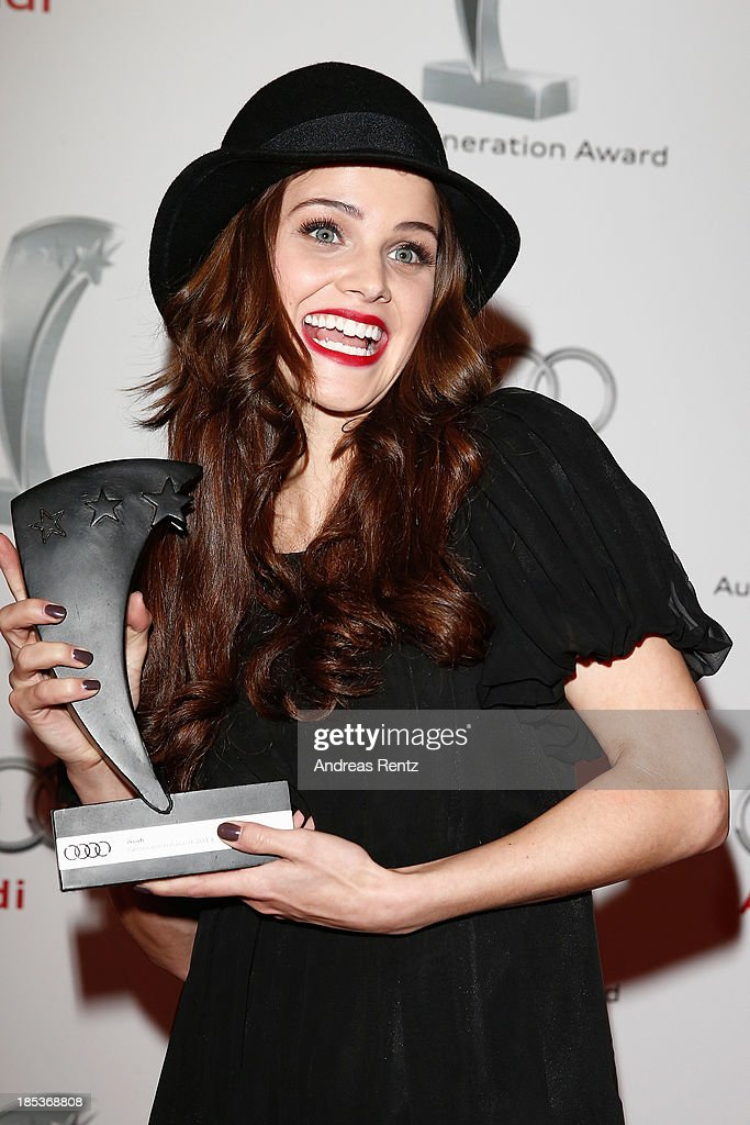 Lisa Tomaschewsky poses with her award at the 7th Audi Generation Award 2013 at Hotel Bayerischer Hof on October 19, 2013 in Munich, Germany.