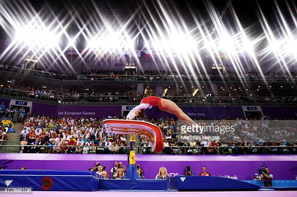 Lisa Top of Netherlands competes in the Women's Vault final on day eight of the Baku 2015 European Games at the National Gymnastics Arena on June 20...