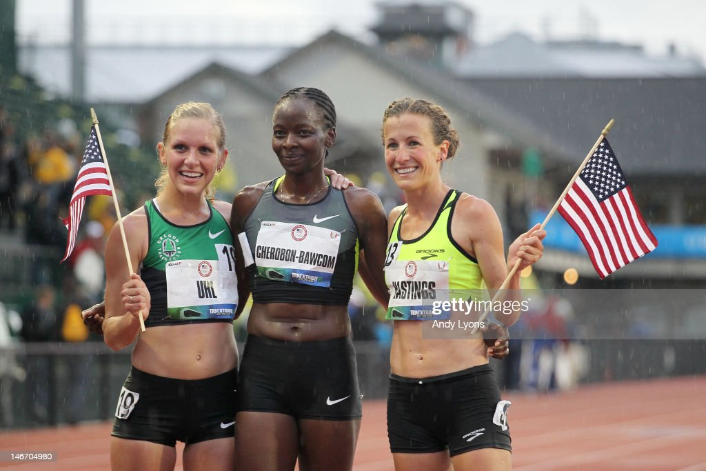 Lisa Uhl, Janet Cherobon-Bawcom and Amy Hastings pose after making the U.S.A Olympic team after competing in the women's 10,000 meter final during Day One of the 2012 U.S. Olympic Track & Field Team Trials at Hayward Field on June 22, 2012 in Eugene, Oregon.