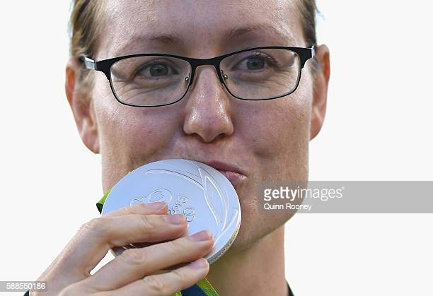Lisa Unruh of Germany celebrates winning a silver medal on Day 6 of the Rio 2016 Oklympics at Sambodromo on August 11 2016 in Rio de Janeiro Brazil