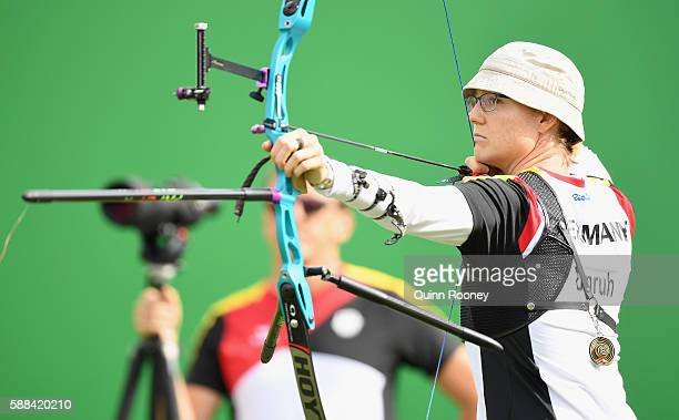 Lisa Unruh of Germany competes in the Women's Individual round of 8 Elimination Round on Day 6 of the Rio 2016 Oklympics at Sambodromo on August 11...