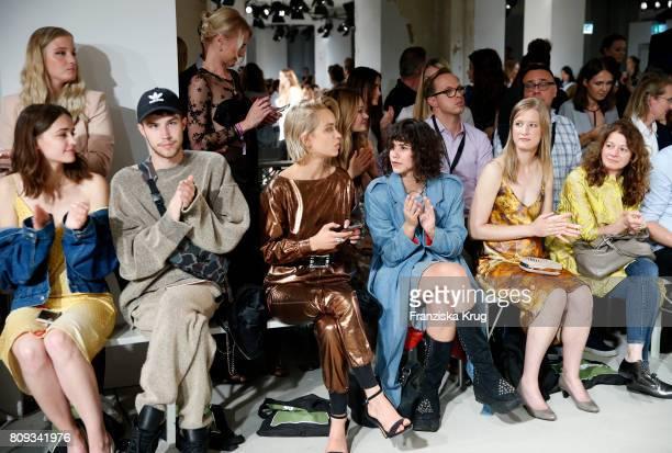 Lisa Valz Caro Cult Lucie Soekeland Stephanie Stremler and guests attend the Rebekka Ruetz show during the MercedesBenz Fashion Week Berlin...