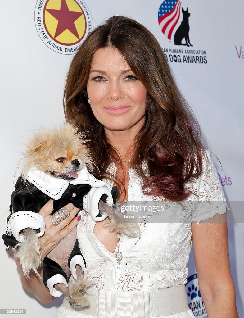 Lisa Vanderpump and Giggy attend her luncheon benefitting the American Humane Association and the Hero Dog Awards at Pump on August 13, 2015 in West Hollywood, California.