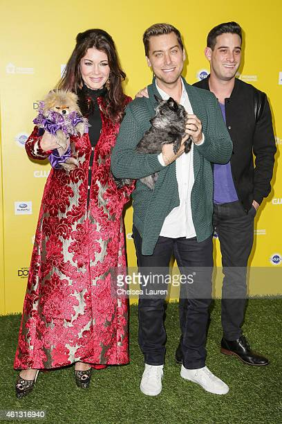 Lisa Vanderpump Giggy singer Lance Bass dog Lily and husband actor Michael Turchin arrive at The World Dog Awards at Barker Hangar on January 10 2015...