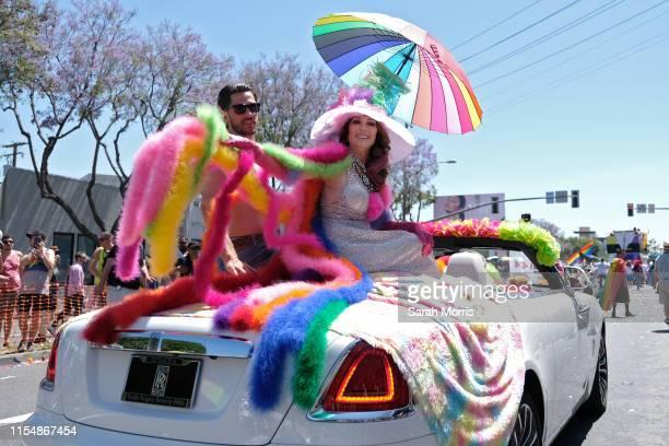 Lisa Vanderpump rides in the LA Pride Parade on June 9 2019 in West Hollywood California