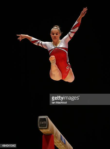 Lisa Verschueren of Belgium competes on the beam during day two of the 2015 World Artistic Gymnastics Championships at The SSE Hydro on October 24...