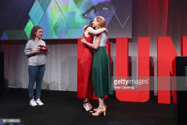 Lisa Vicari and Andrea Sawatzki at the New Faces Award Film at Spindler Klatt on April 26 2018 in Berlin Germany
