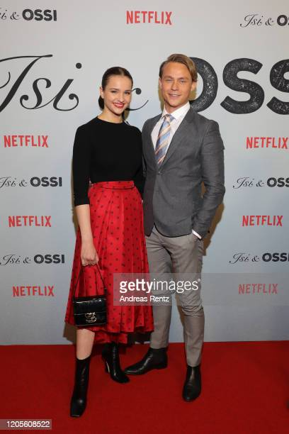 Lisa Vicari and Dennis Mojen attend the premiere of the Netflix film Isi Ossi at Filmtheater am Friedrichshain on February 11 2020 in Berlin Germany