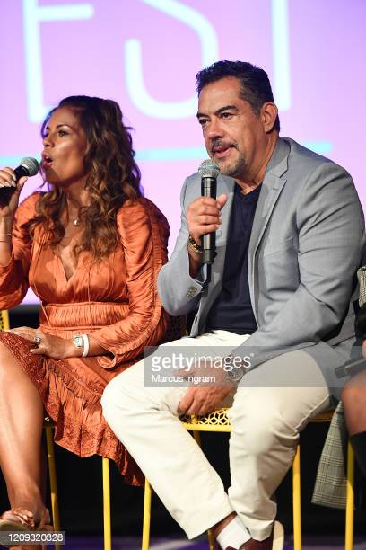 Lisa Vidal and Carlos Gómez speak onstage for SCAD aTVfest 2020 The Baker And The Beauty panel on February 28 2020 in Atlanta Georgia