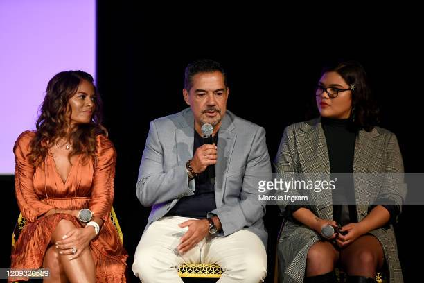 Lisa Vidal Carlos Gómez and Belissa Escobedo speak onstage for SCAD aTVfest 2020 The Baker And The Beauty panel on February 28 2020 in Atlanta Georgia