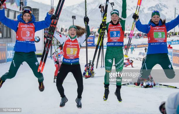 Lisa Vittozzi Alexia Runggaldier Dorothea Wierer and Federica Sanfilippo of Italy celebrate winning the IBU Biathlon World Cup Women's 4x6 km Relay...