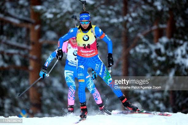 Lisa Vittozzi in action during the IBU Biathlon World Championships Women's Sprint on March 8, 2019 in Oestersund, Sweden.