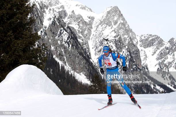 Lisa Vittozzi in action during the IBU Biathlon World Championships Men's and Women's Mixed Relay on February 13 2020 in Antholz Anterselva Italy