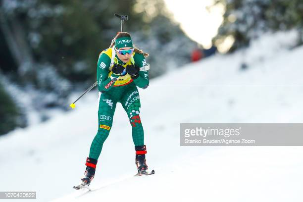 Lisa Vittozzi in action during the IBU Biathlon World Cup Men's and Women's Pursuit on December 9 2018 in Pokljuka Slovenia