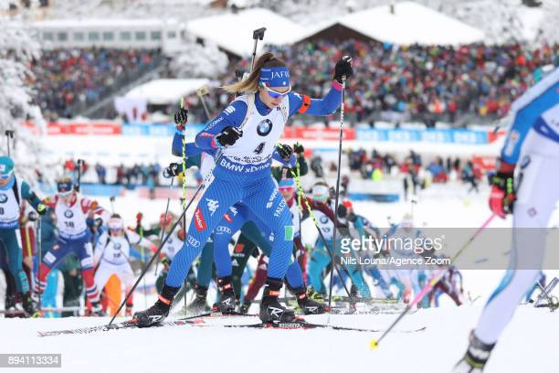 Lisa Vittozzi in action during the IBU Biathlon World Cup Men's and Women's Mass Start on December 17, 2017 in Le Grand Bornand, France.