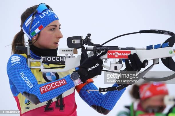 Lisa Vittozzi of Italy at the zeroing for the IBU Biathlon World Championships Women 7.5km Sprint at Swedish National Biathlon Arena on March 08,...