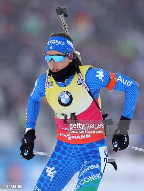 Lisa Vittozzi of Italy competes at the IBU Biathlon World Championships Women 7.5km Sprint at Swedish National Biathlon Arena on March 08, 2019 in...