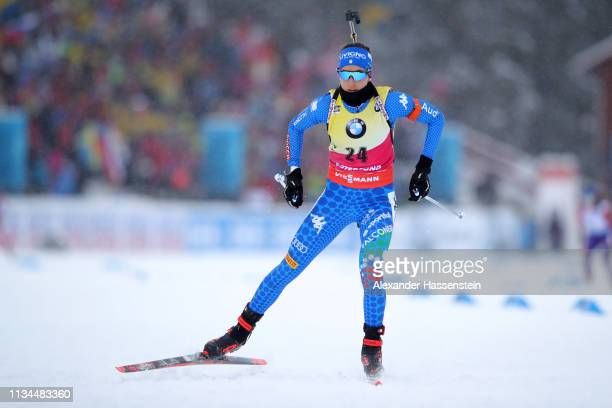 Lisa Vittozzi of Italy competes at the IBU Biathlon World Championships Women 75km Sprint at Swedish National Biathlon Arena on March 08 2019 in...